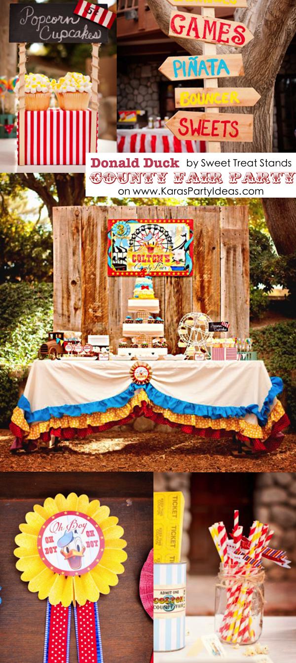 DONALD DUCK COUNTY FAIR themed birthday party via Karas Party Ideas KarasPartyIdeas.com #duck #donald #party #county #fair #themed #supplies #ideas #decor #cake #idea