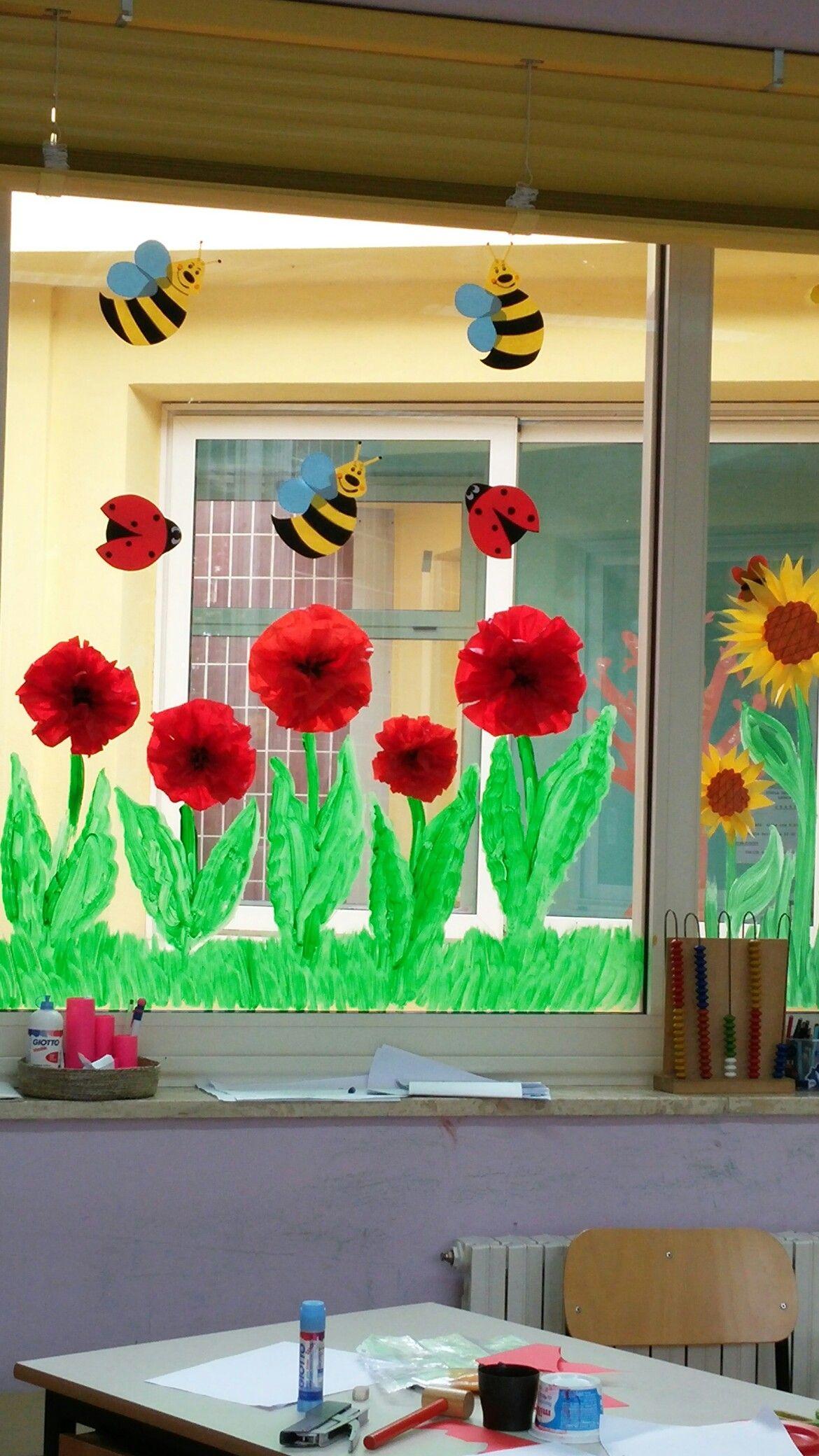 Window decoration for kindergarten  finestra in primavera  kreativitet  pinterest  spring spring