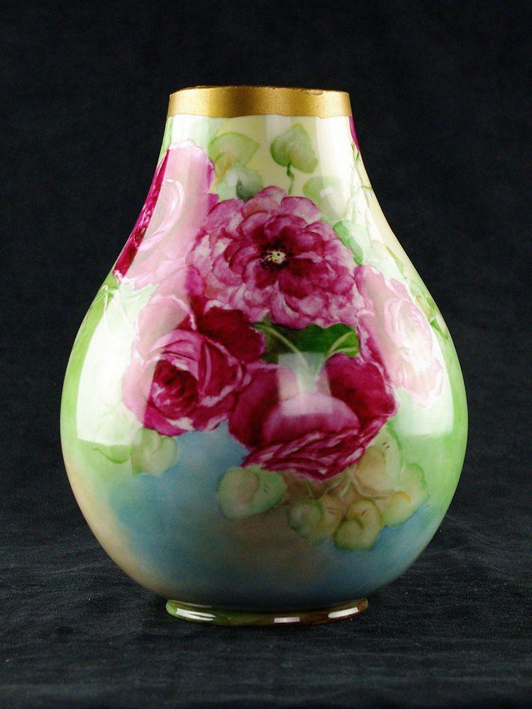 Willets Belleek Artist Signed Large Vase Pink Red Roses Hand