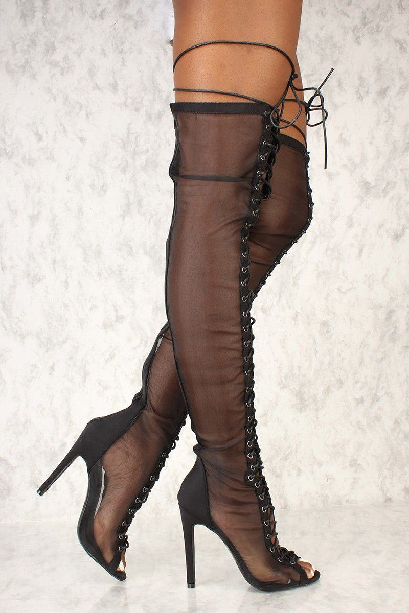 7e3939ccef5 Sexy Black Sheer Open Toe Lace Up Thigh High Heel Boots Lycra