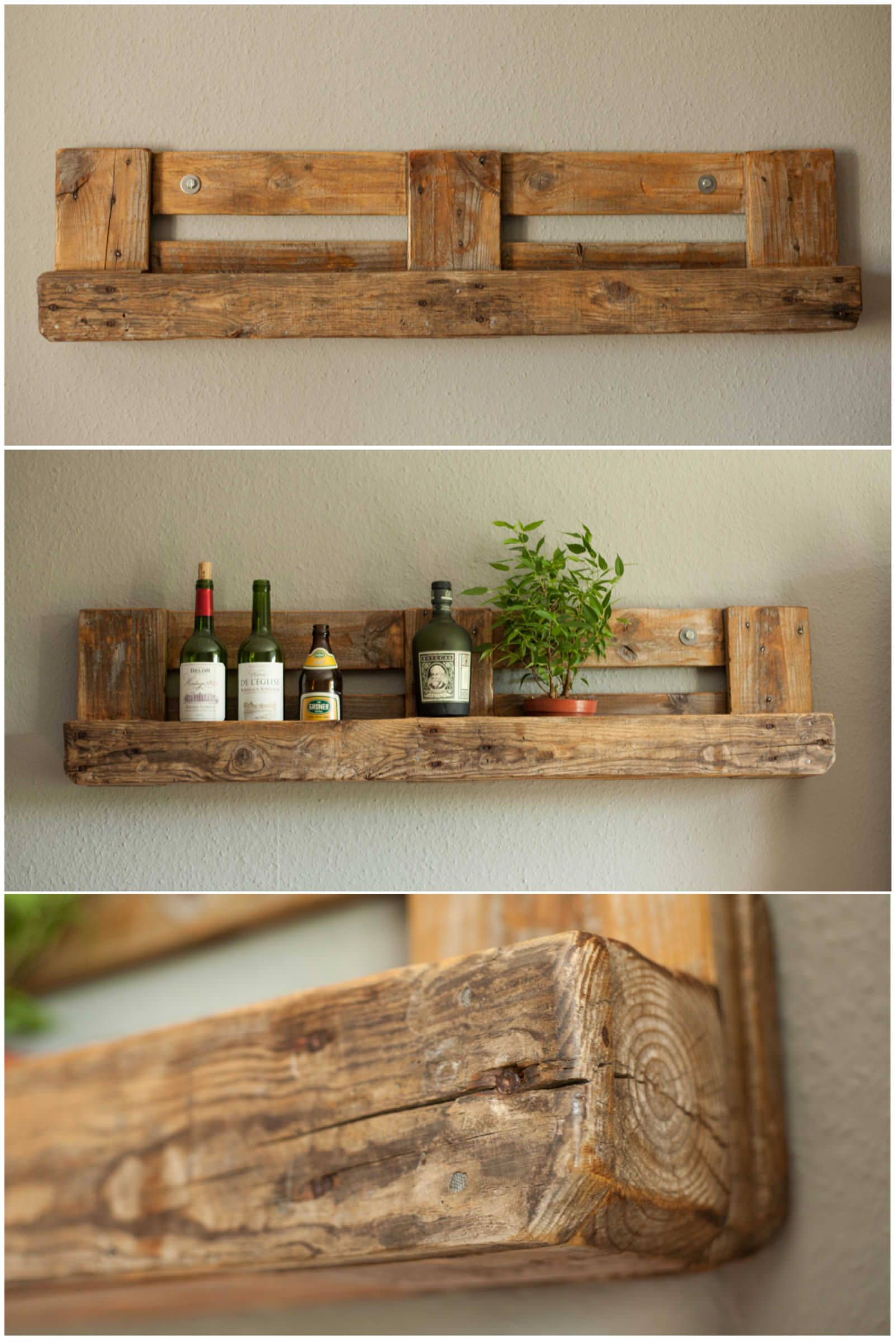 Pallet rustic shelf pallet ideas repurposed pallets for Repurposed pallet projects
