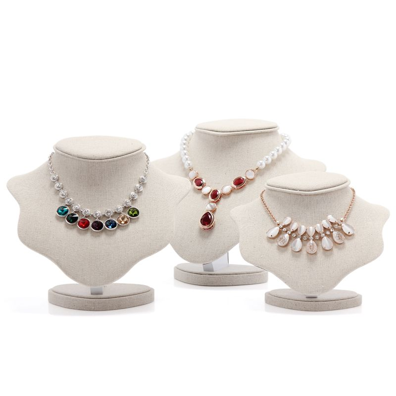 High Quality White Linen Necklace Stand Jewelry Organizer Pendant