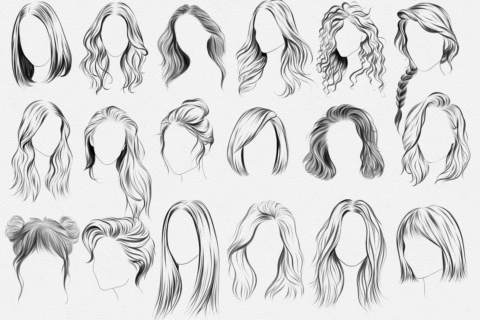 30 Hairstyle Stamps Brushes Procreate, Curly Hair