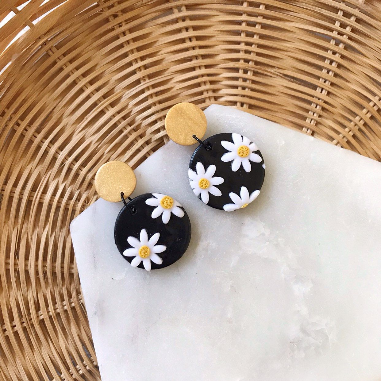 Daisy Polymer Clay Earrings Dangle earrings Statement Polymer Clay Earrings Statement Pattern Hand Made
