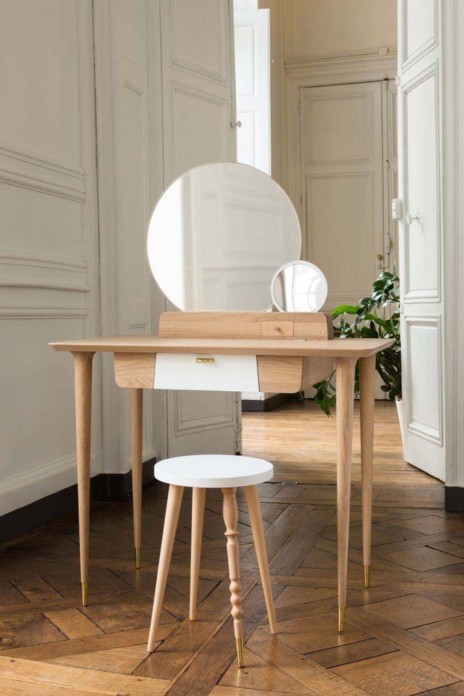 Coiffeuse My Vanity Desk Blanc Chene Coiffeuse Design Elegante Et Feminine Aux Lignes Douces Annee50 Coif Coiffeuse Design Mobilier De Salon Coiffeuse