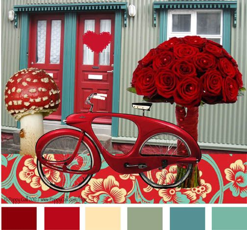 inspiring red turquoise living room | color+palette+poppy | ... of red doors I took in Iceland ...