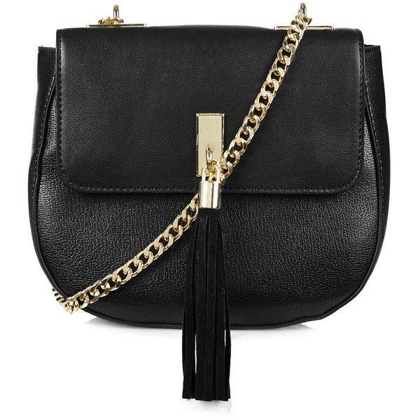 TOPSHOP Tassel Front Saddle Bag (£37) ❤ liked on Polyvore featuring bags, handbags, shoulder bags, black, polka dot handbag, chain handle handbags, black shoulder bag, black saddle bag and black handbags