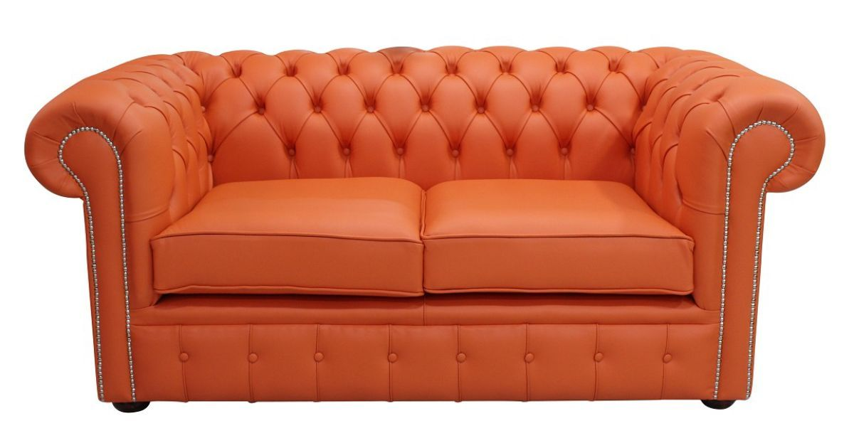 Flamenco Orange Leather Chesterfield Sofa At