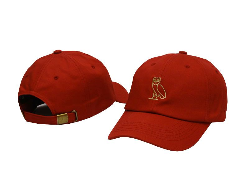64aeef55654 Mens   Womens October s Very Own Owl 3D Embroidery Logo 6 Panel Fashion  Strap Back Adjustable Polo Cap - Red   Gold