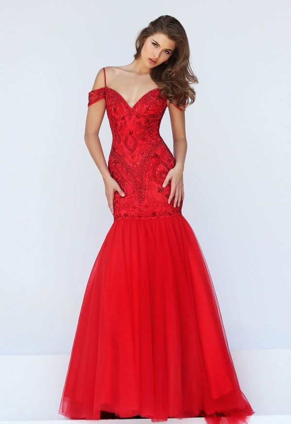 Long red tulle prom dress delicately accented with beads perfectly ...
