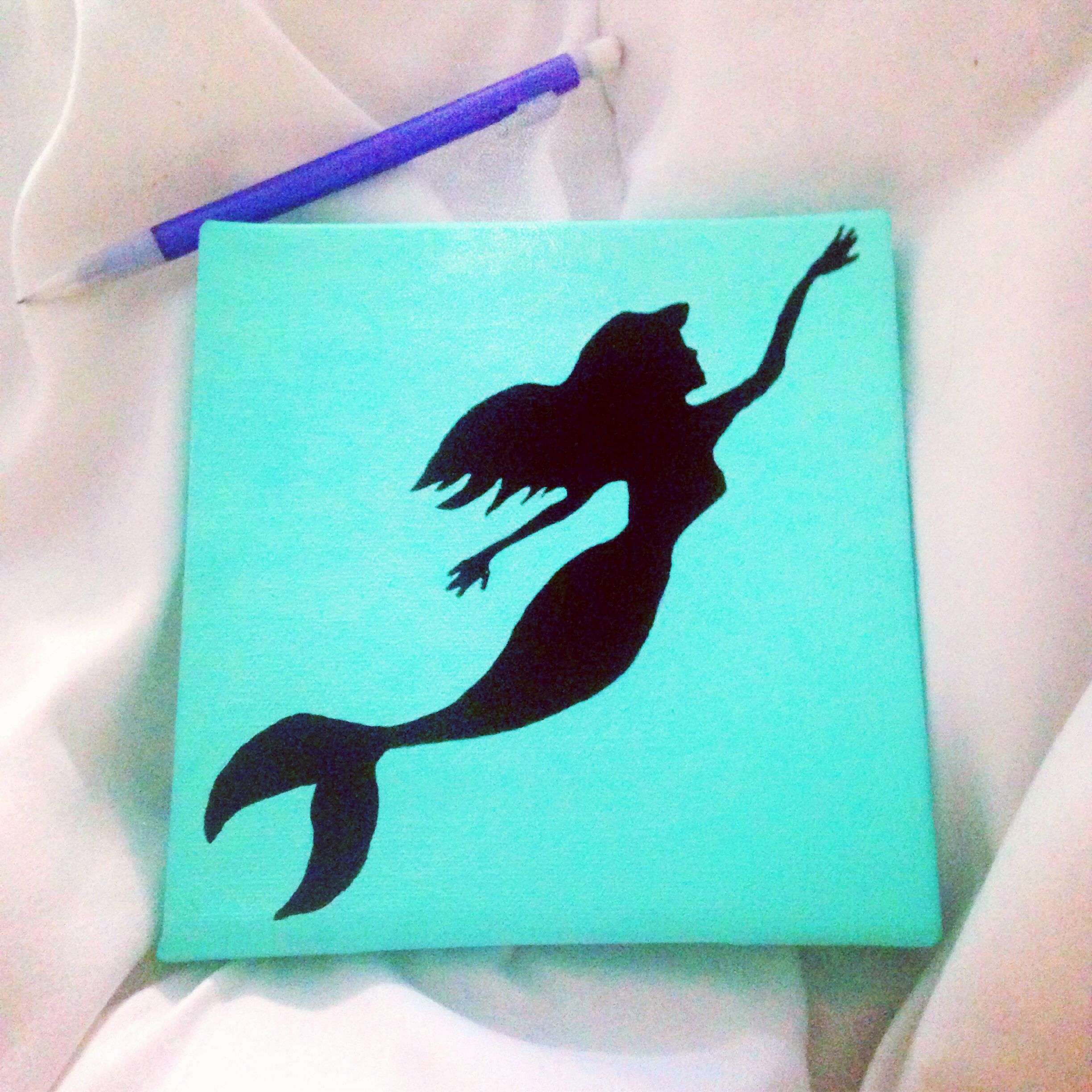 diy mermaid canvas painting filme. Black Bedroom Furniture Sets. Home Design Ideas