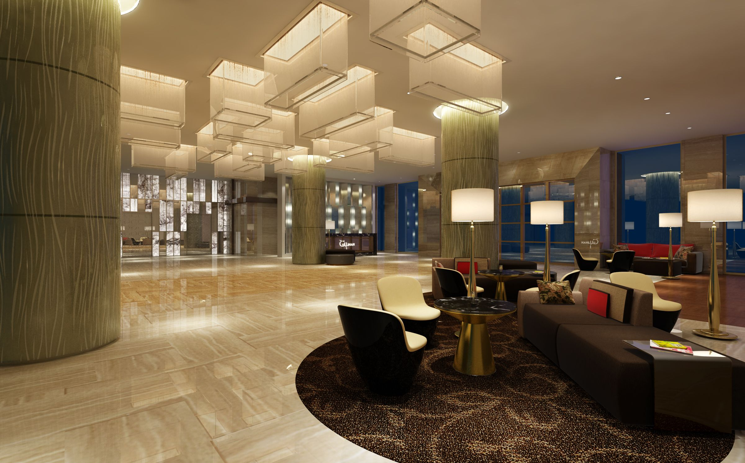 Modern hotel lobby interior design hotel lobby design for Hotel interior decoration