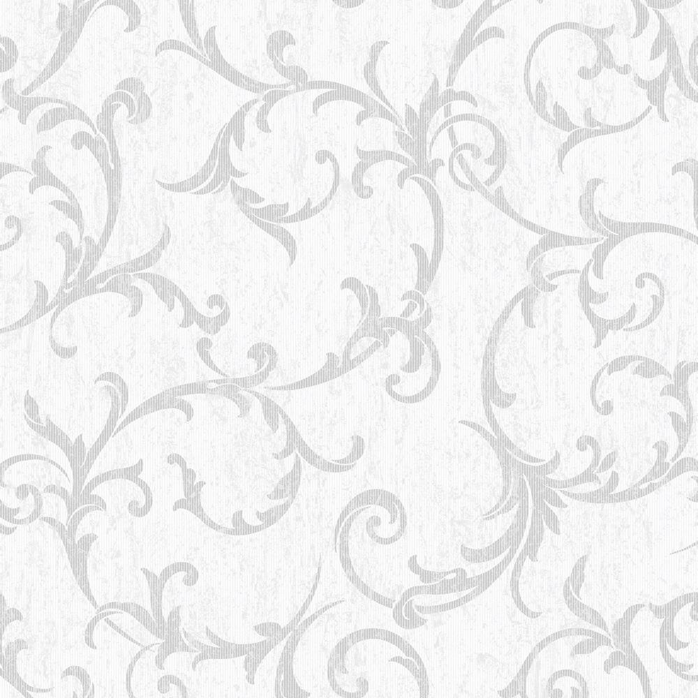 Graham & Brown Empress Scroll Silver Removable Wallpaper