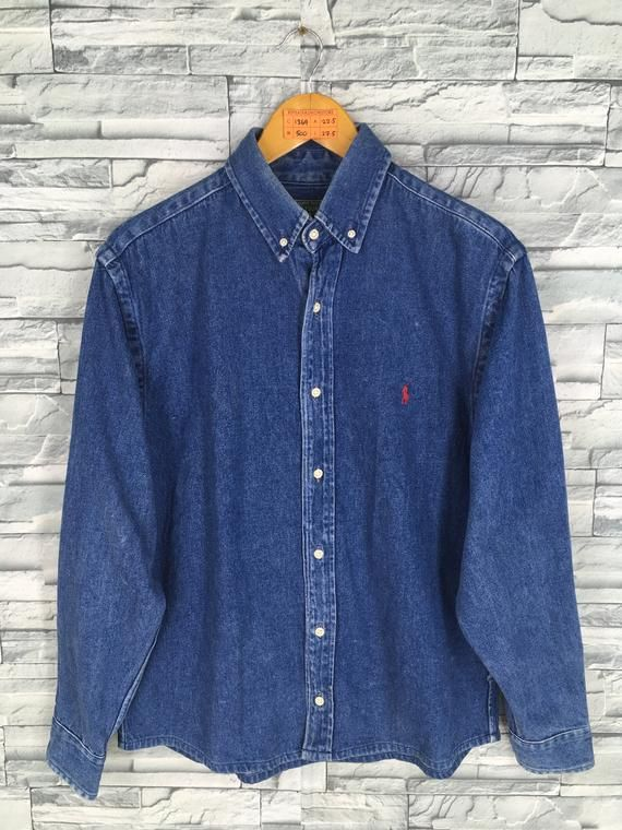 e85b7d821df Vintage 1990 s POLO COUNTRY Denim Shirt Small Unisex Polo Ralph Lauren Jeans  Shirt Flannel Grunge St
