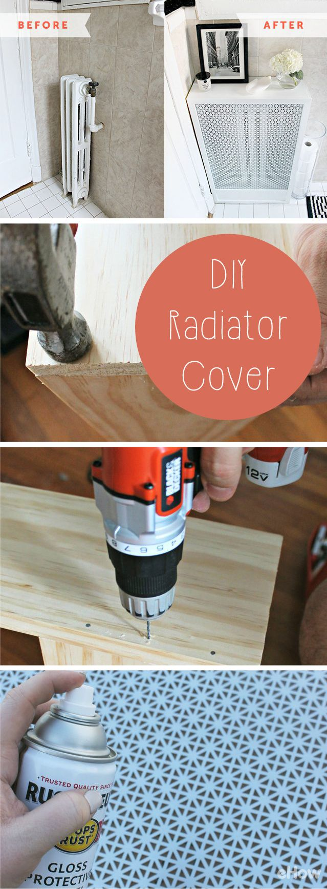 create a cover for that ugly radiator in your apartment and get bonus shelf space
