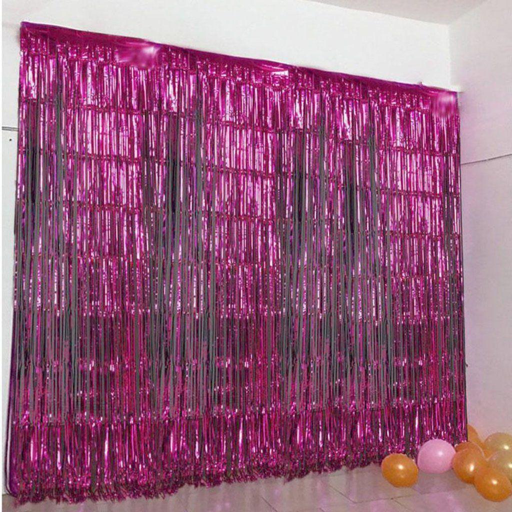 8ft Fushia Metallic Foil Fringe Curtain #curtainfringe