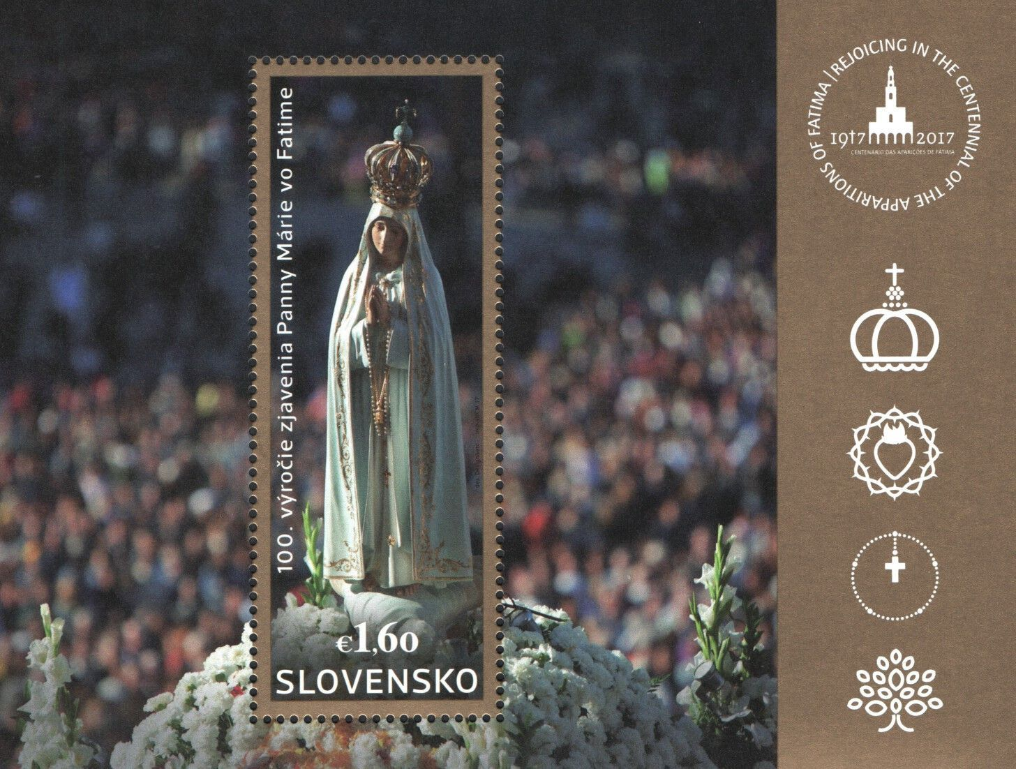 759 Slovakia 2017 100th Anniv Of Our Lady Of Fatima Apparitions S S Mnh Lady Of Fatima Fatima Joint Issues