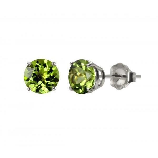 10k White Gold or Yellow Gold 8mm Round Peridot Stud Earrings (