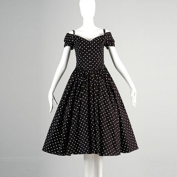 XS I Magnin Off Shoulder Cocktail Dress Fit and Flare Party Dress ...