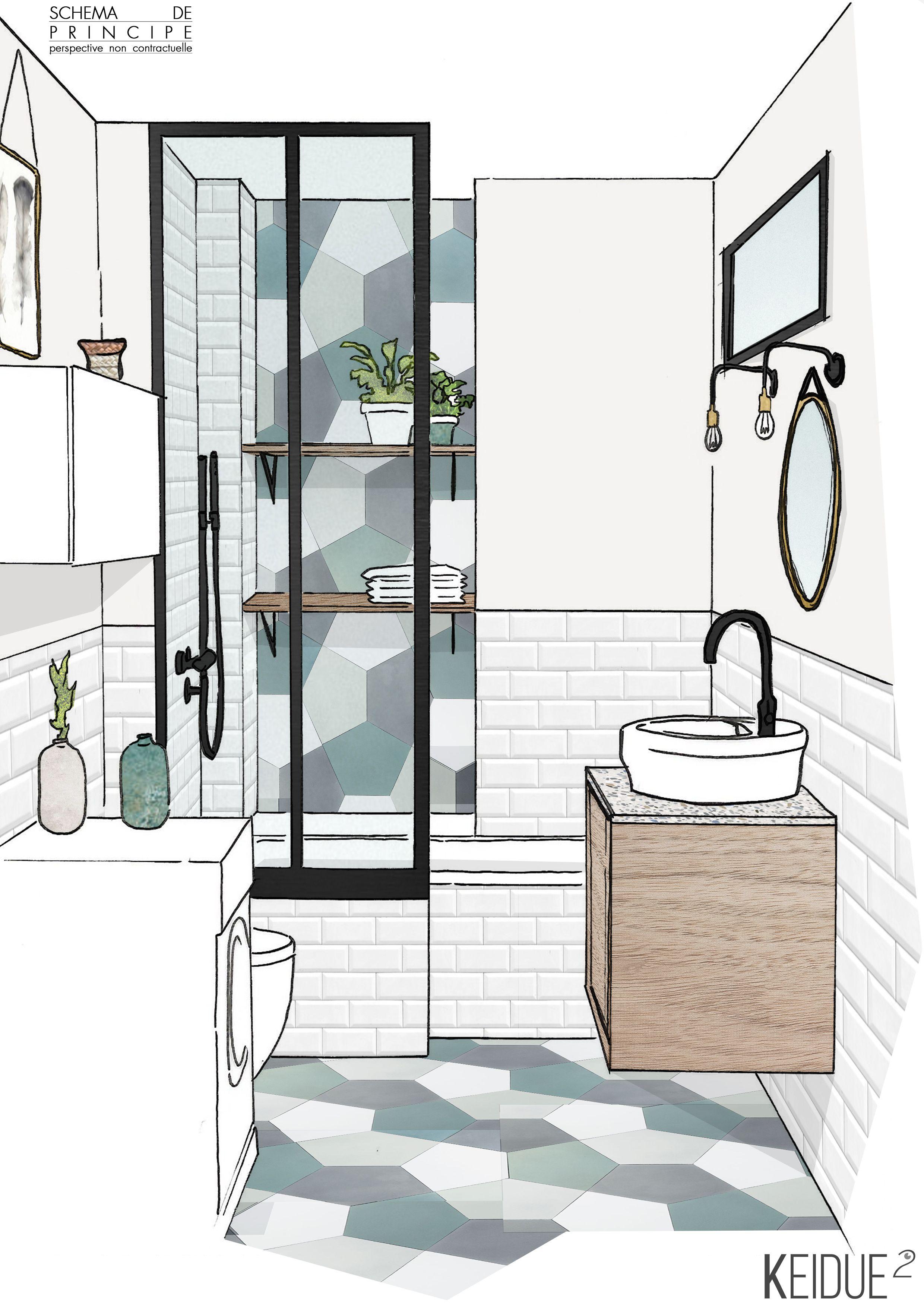 Renovation salle de bains croquis keidue recherche ambiance mat riaux r alisation perspective - Idee renovation salle de bain ...