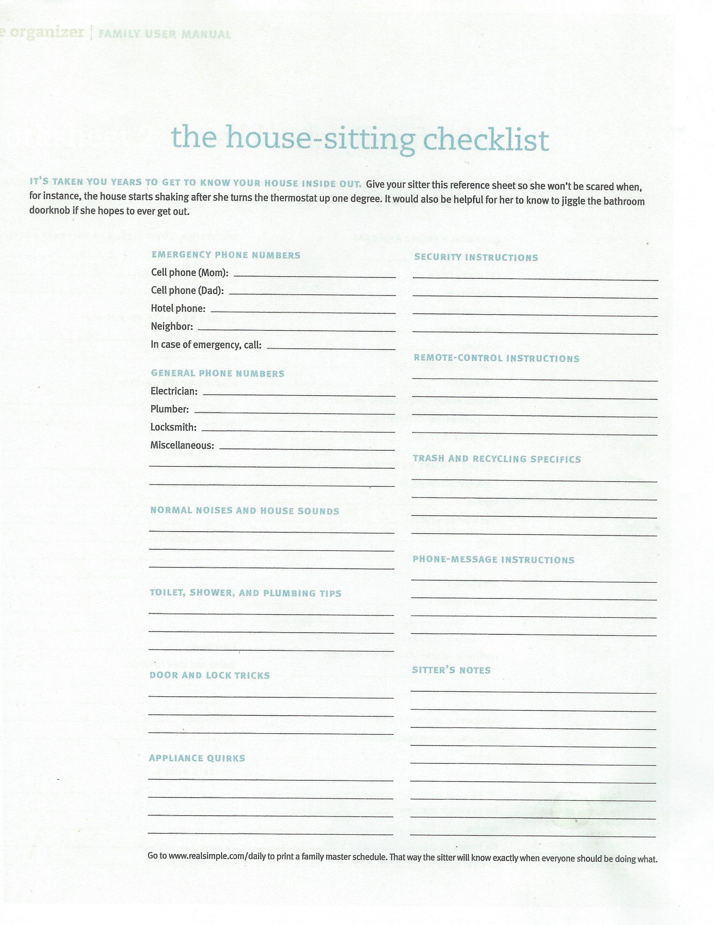 House Sitting Checklist Dog Sitting House Sitting Pet Sitting
