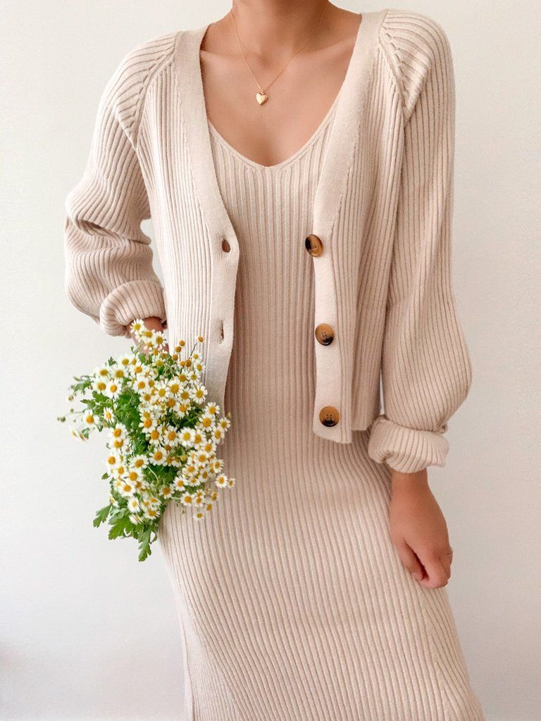 Dreaming Of Daises Set Breath Of Youth Dress With Cardigan Modest Outfits Fashion [ 1024 x 768 Pixel ]