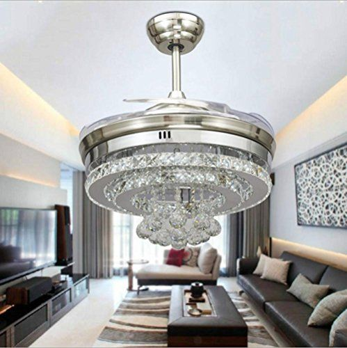 BBSLTPersonality Crystal stealth ceiling fan light stylish dining