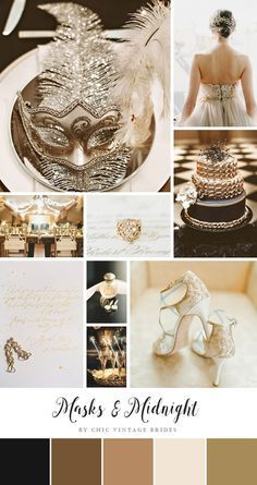 masks and midnight glamorous new years eve wedding inspiration in black and gold