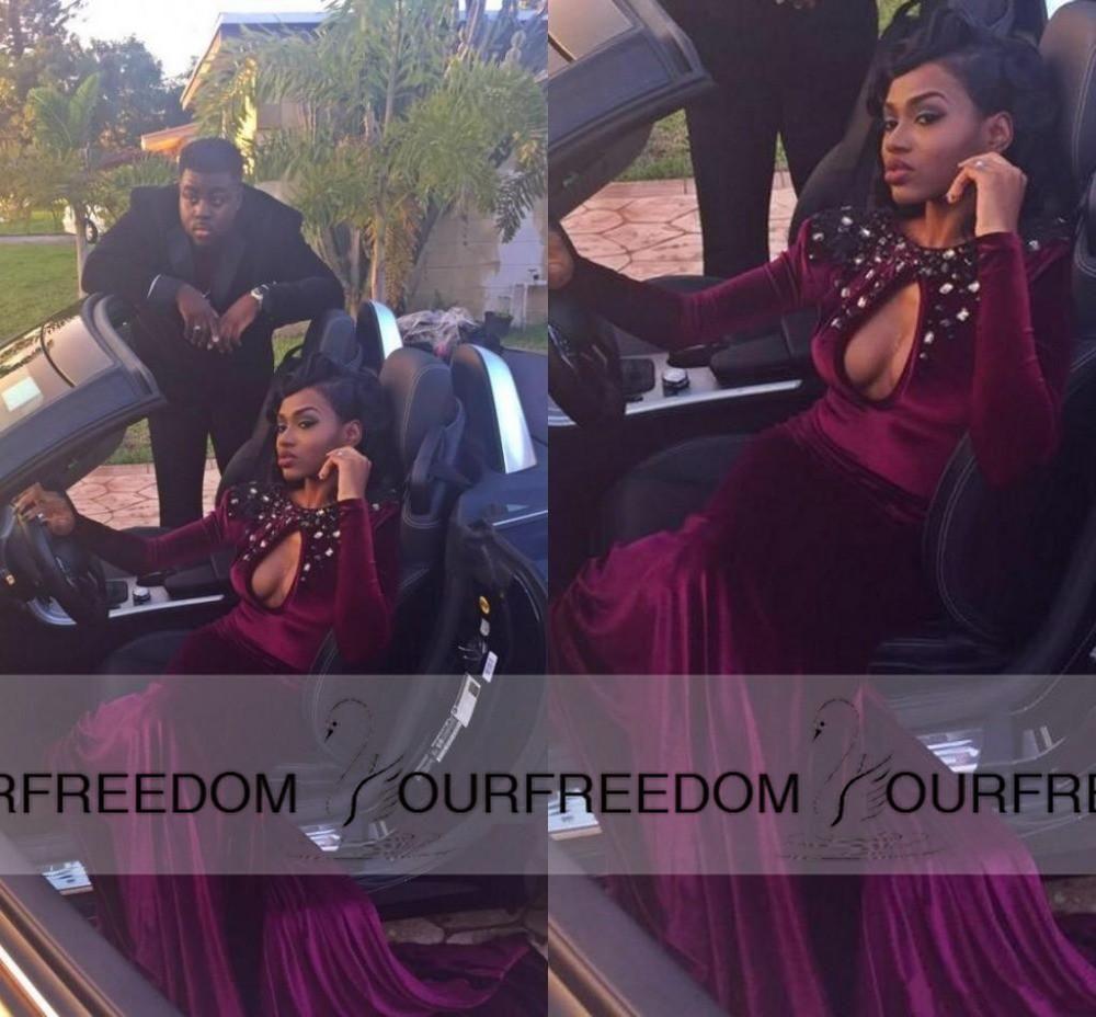 burgundy velvet long prom dresses jewel beaded neck long