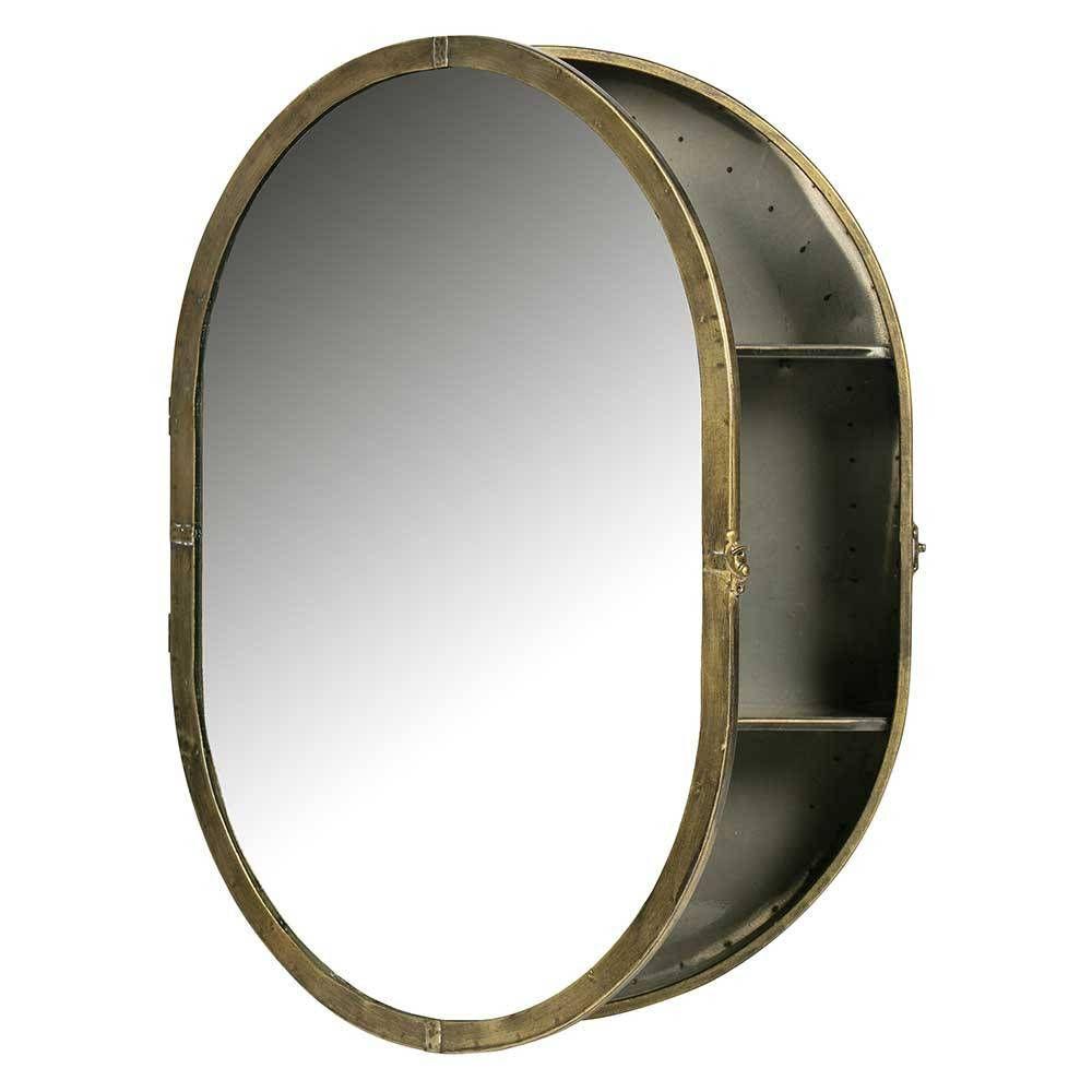 Ovaler Bad Spiegelschrank im Vintage Stil aus Metall in Messing ...