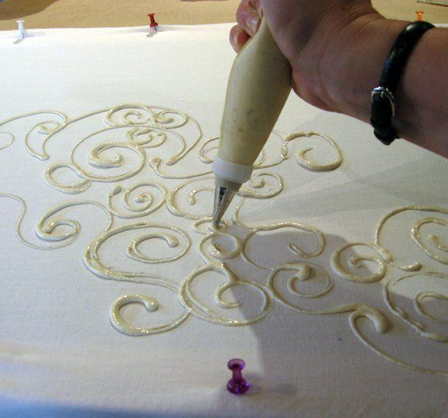 flour paste batik? batik with flour paste? I must look this up. Seems easier than with wax....