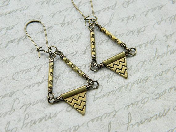 Aztec Earrings  Aztec Triangle Drops Brown Bronze by gabeadz