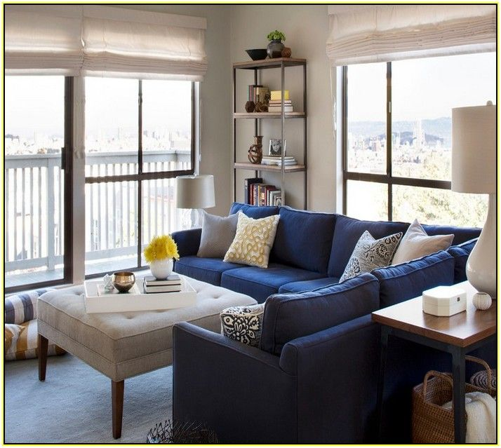 Blue Denim Sectional Sofa