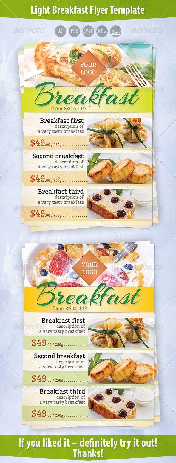 light breakfast flyer template チラシのテンプレート レストラン
