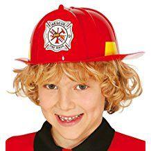 Casco de bombero de color rojo de plástico para niños. Con escudo y cintas  reflectantes e15f7033a8b1