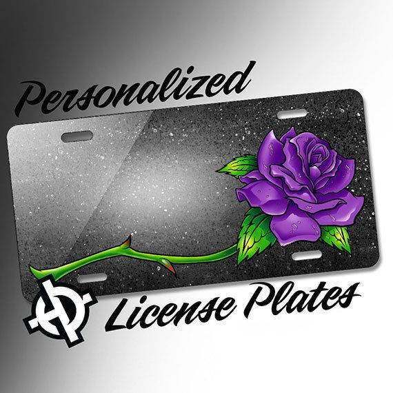 Purple Open Rose At1043 Airbrush License Plates Personalized