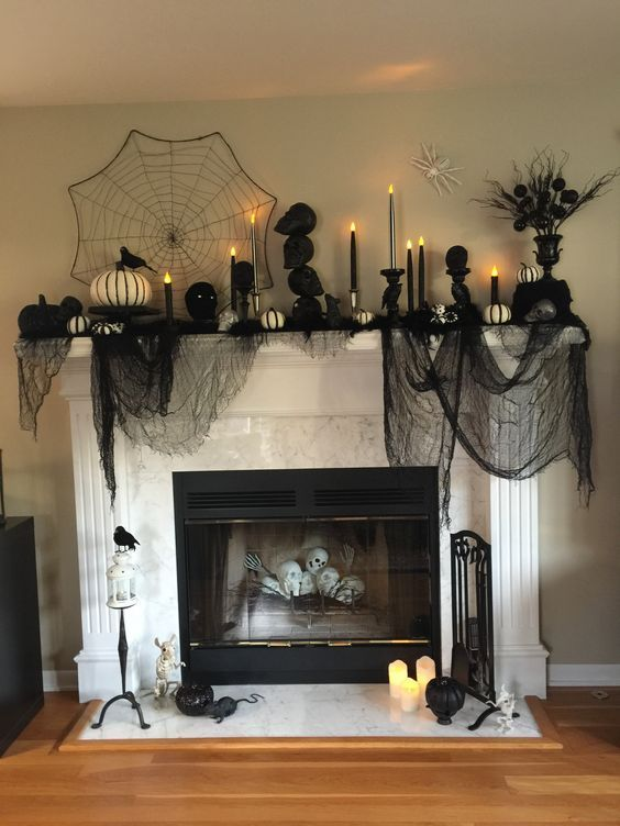 90 Halloween Mantel Decorating Ideas that will spruce up your Fireplace setting - Hike n Dip