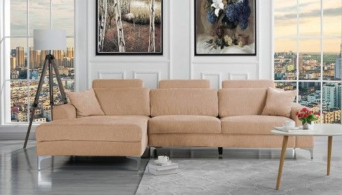 Modern Large Linen Fabric Sectional Sofa L Shape Couch With Extra