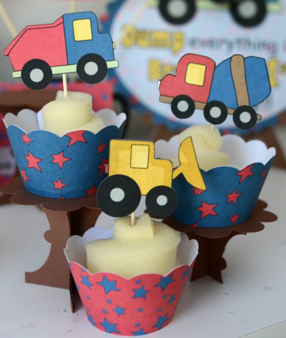 Construction Birthday Party CUPCAKE TOPPERS Wrappers Dump Truck Decorations
