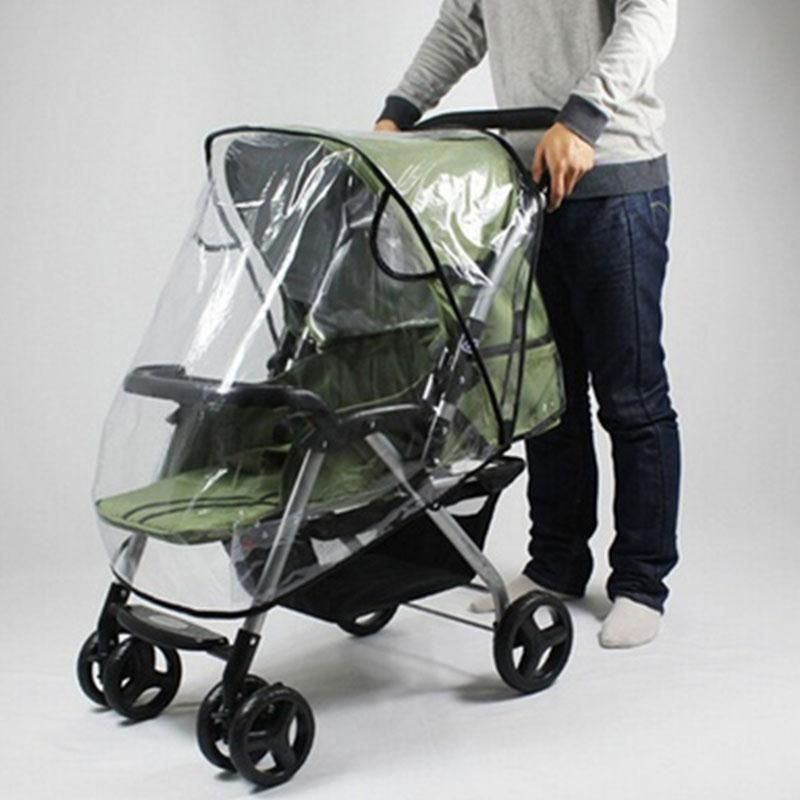 Housse anti-pluie pour poussette Universal Windproof Baby Buggy Housse de pluie pour poussette Protection pluie Transparent Protection pour poussette