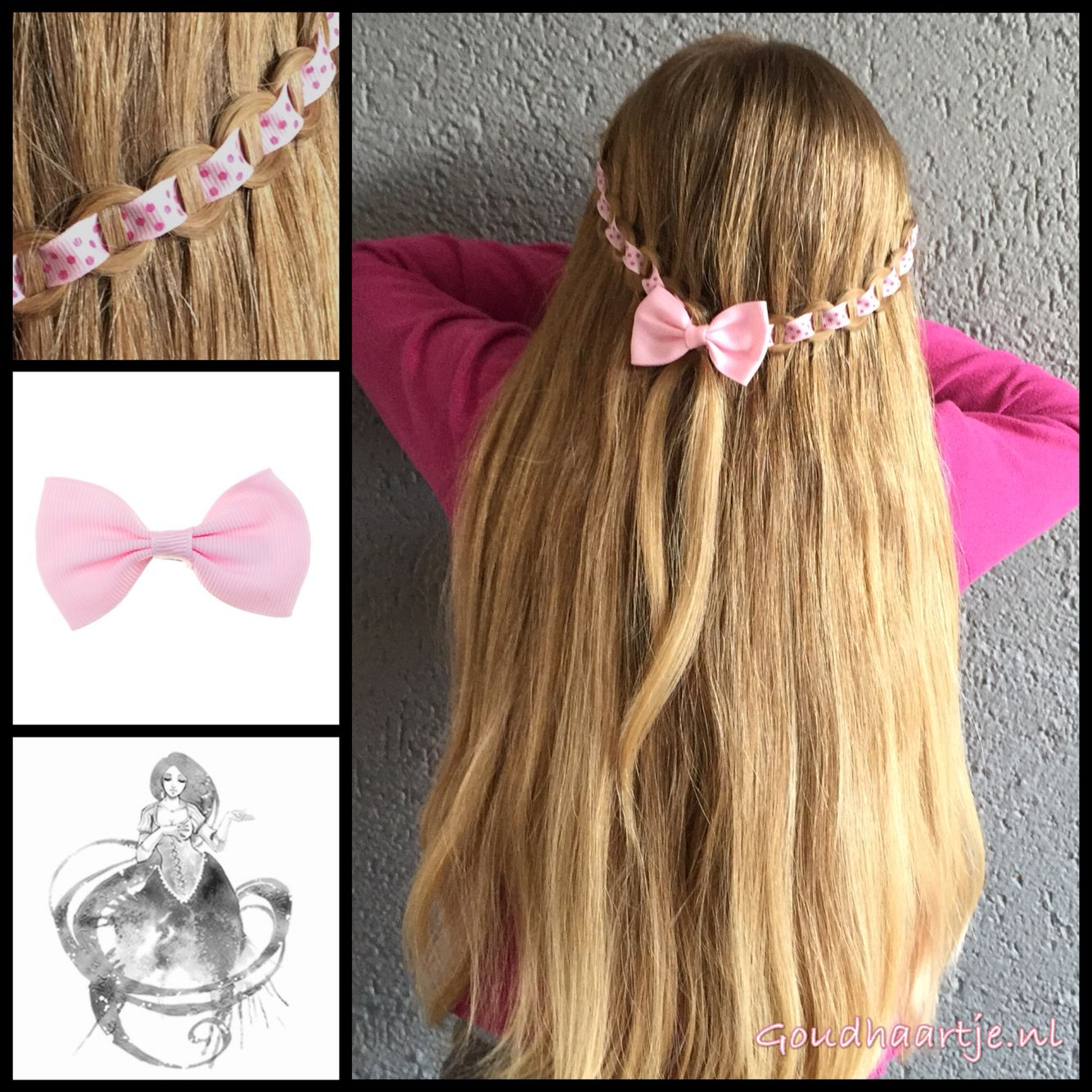 Chain waterfall braid with ribbon and a cute bow from the webshop