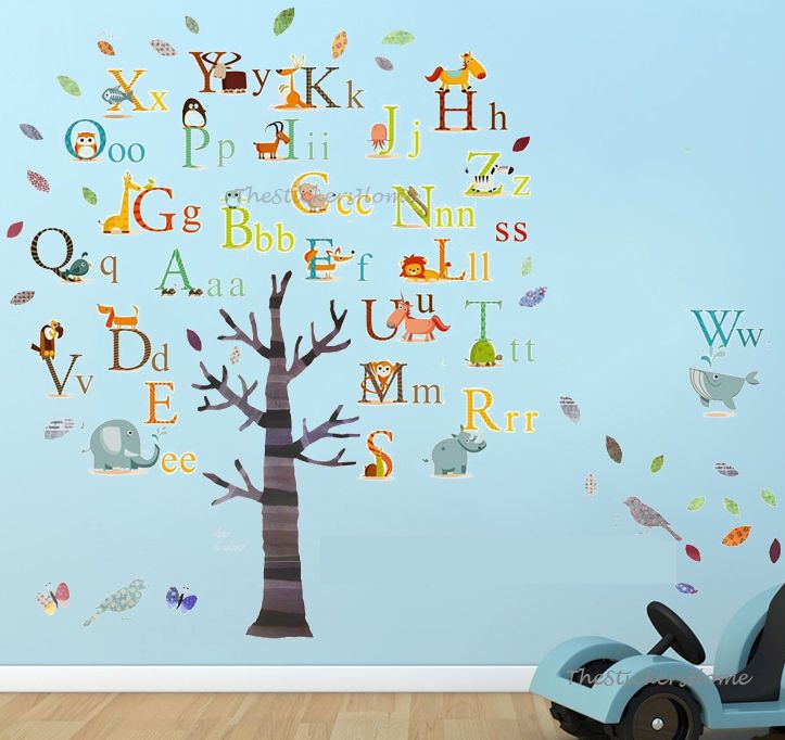 Details about Huge Combo Alphabet Animal Tree Wall Stickers ...