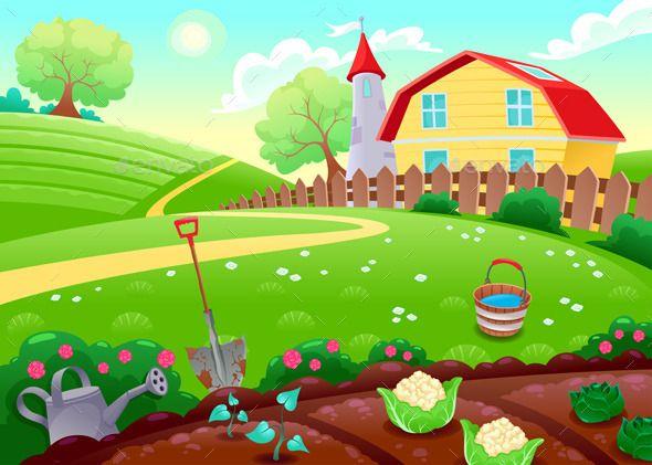 Countryside Scenery With Vegetable Garden Cartoon Garden Farm Cartoon Garden Illustration
