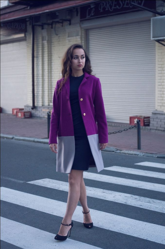 Пальто женское фуксия/серый