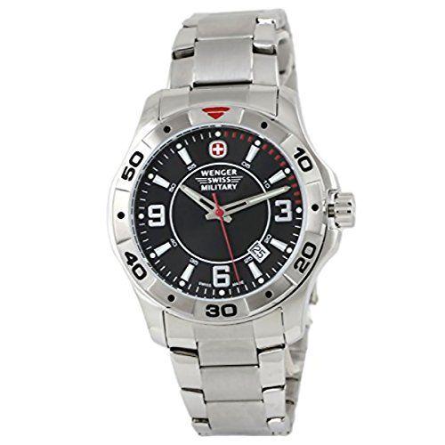 2e16d8c5fde Wenger 79139 Alpine Swiss Army Men s Black Dial Watch Steel Bracelet  https   www