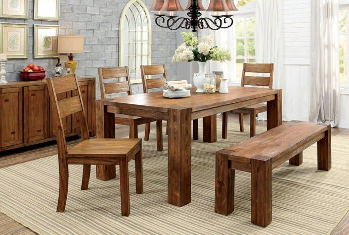 Awe Inspiring Cm3603T 6Pc 6 Pc Frontier Dark Oak Finish Wood Rustic Block Pabps2019 Chair Design Images Pabps2019Com