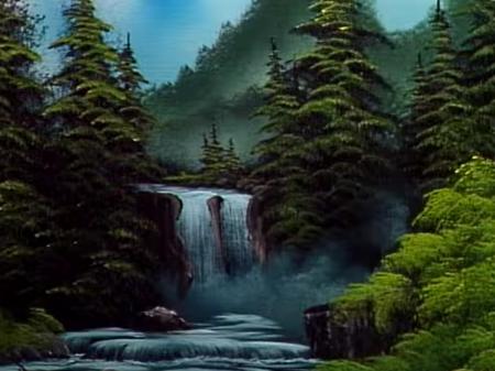Blue Ridge Falls The Joy Of Painting S30e13 The Joy Of Painting Bob Ross Paintings Bob Ross
