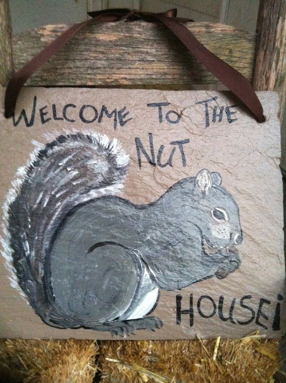 Home Decor Squirrel Sign Welcome Signs Fall Signs Welcome To The Nut House Sign Squirrel Decor Chalkboard Ornament Squirrel Painting