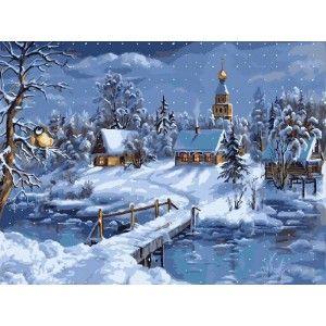 Зимнее утро Раскраска (картина) по номерам акриловыми ...