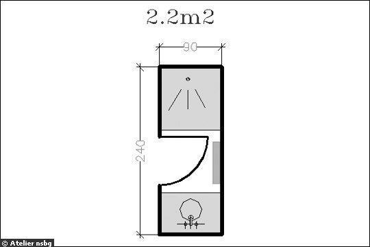 Surface de 2 2 m le plan d 39 une petite salle de bains for Plan petite salle de bain avec douche et wc